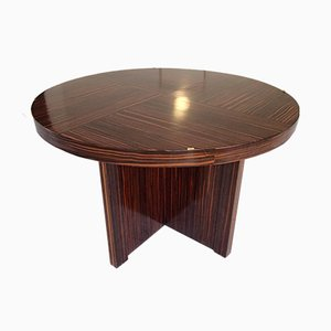 Art Deco Round Macassar Coffee Table, 1930s