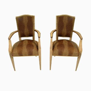 Art Deco Crocodile Embossed Leather Armchairs, 1940s, Set of 2