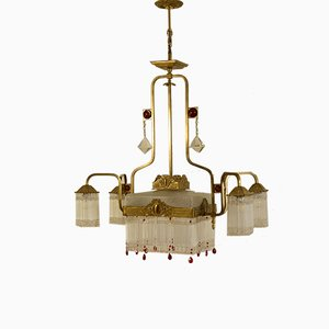 Art Deco Gilded Metal and Frosted Glass Chandelier, 1920s