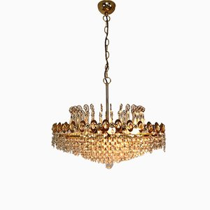 Mid-Century Metal and Glass 8-Light Chandelier, 1950s