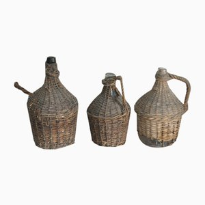 Vintage Wicker Wine Bottles, Set of 3