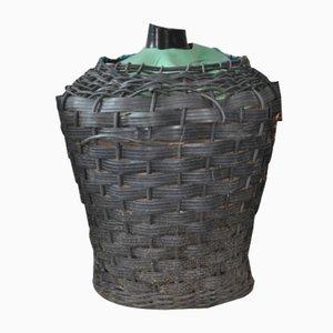 Mid-Century Glas Demijohn Korb aus Kunststoff