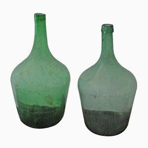 Ungarische Grüne Vintage Weinflaschen, 2er Set