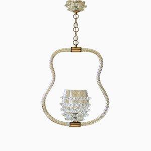 Italienische Art Deco Deckenlampe aus Muranoglas von Ercole Barovier für Barovier & Toso, 1930er