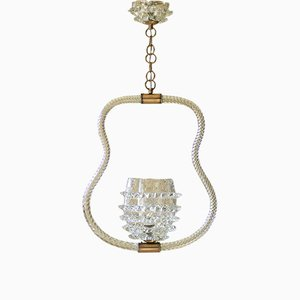 Lámpara de techo italiana Art Déco de cristal de Murano de Ercole Barovier para Barovier & Toso, años 30