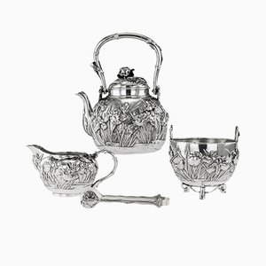 Antique Japanese Solid Silver Tea Set from Konoike, 1900s, Set of 4