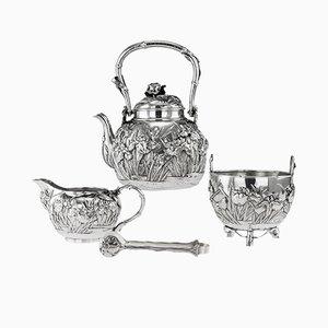 Set da tè antico in argento massiccio di Konoike, Giappone, inizio XX secolo, set di 4