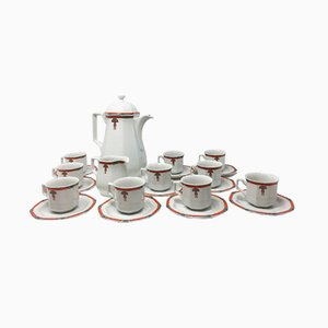 Art Deco White Coffee and Tea Set, 1930s, Set of 12
