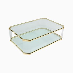 Brass and Lucite 2-Tier Coffee Table, 1970s