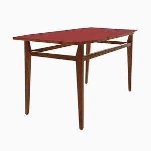Italian Red Formica Top Dining Table, 1950s