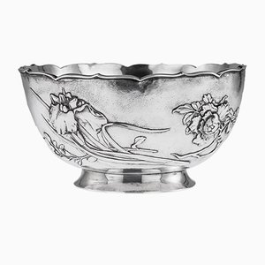 Antique Japanese Meiji Solid Silver Iris and Chrysanthemum Flower Bowl, 1900s