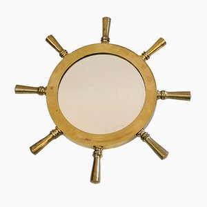 Brass Nautical Ships Wheel Mirror, 1970s