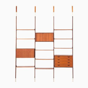 Italian Modern Teak and Brass Floor to Ceiling Wall Unit, 1950s