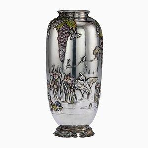Antique Japanese Solid Silver and Enamel Vase from Sanju Saku, 1900s