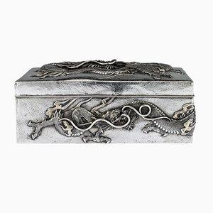 Antique Japanese Meiji Solid Silver Dragon Box from Samurai Shokai, 1900s