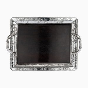 Antique Japanese Solid Silver and Wood Serving Tray, 1900s
