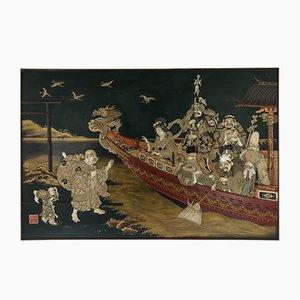 Antike japanische Wandtafel aus massivem Silber von Shibayama & Lack, 1890er