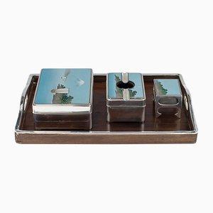Antique Japanese Meiji Solid Silver Smoking Set from Kobayashi, Set of 4