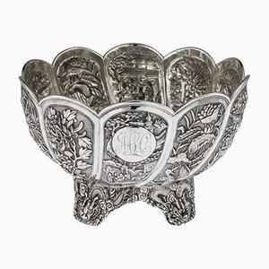 Cuenco chino antiguo de plata maciza de Hung Chong, década de 1890