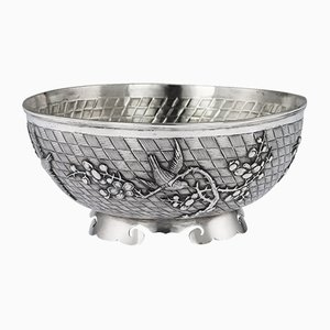 Antique Chinese Solid Silver Bowl from Singfat, 1900s