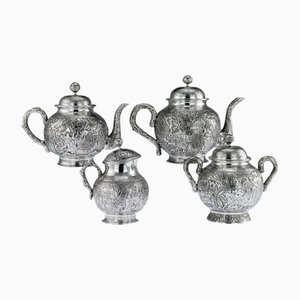 Antique Chinese Solid Silver Tea Service from Pau Kuang, 1890s, Set of 4