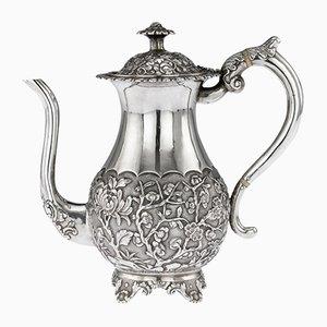 Antike Chinesische Kaffeekanne aus Massivem Silber von Hooching, 1860er