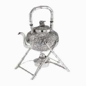 Antique Chinese Solid Silver Kettle on Stand from Wang Hing, 1890s