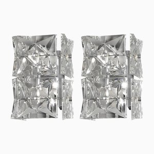 Chrome Plated and Faceted Crystal Glass Sconces from Kinkeldey, 1970s, Set of 2