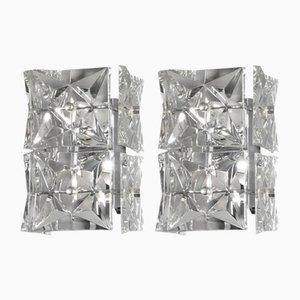 Verchromte und Facettierte Kristallglas Wandlampen von Kinkeldey, 1970er, 2er Set