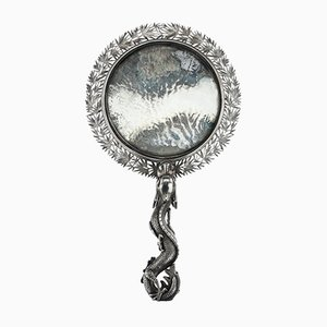 Antique Chinese Solid Silver Hand Mirror from Wang Hing, 1880s