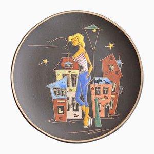 Piatto Paris in ceramica di Ruscha, anni '50