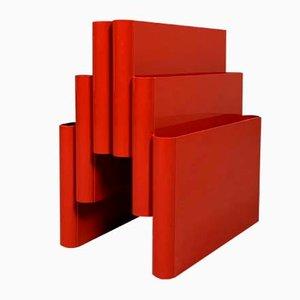 Roter Zeitschriftenständer von Giotto Stoppino für Kartell, 1970er
