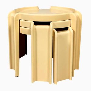 Beige Nesting Tables by Giotto Stoppino for Kartell, 1970s