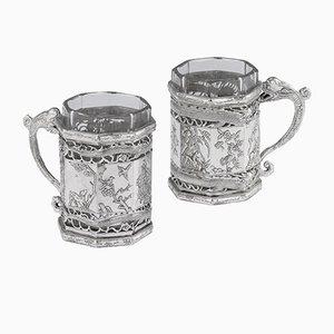 Antike Chinesische Tee-Glashalter aus Massivem Silber von Yu Sheng & Yong Ji, 1880er, 2er Set