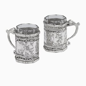 Antique Chinese Solid Silver Tea Glass Holders from Yu Sheng & Yong Ji, 1880s, Set of 2