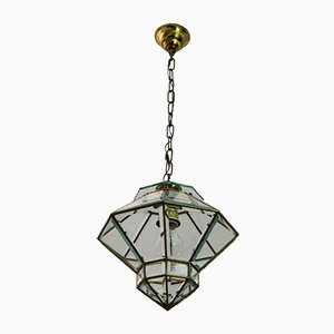 Antique Art Nouveau Style Brass and Beveled Glass Ceiling Lamp by Adolf Loos for Knize, 1900s