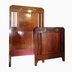 Art Deco Italian Mahogany and brass Frieze Twin Beds, 1920s, Set of 2