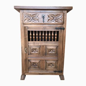19th Century Catalan Spanish Carved Walnut Chest of Drawers