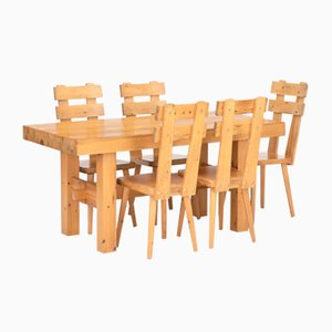 Vintage Pinewood Dining Table & Chairs Set, 1970s, Set of 6