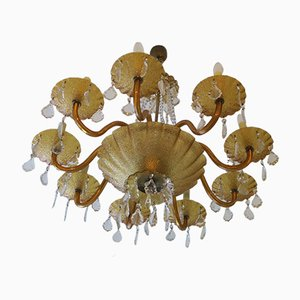 Large Italian Amber Glass and Brass 8-Arm Chandelier, 1960s