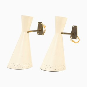 Mid-Century Italian Brass and Enamel Sconces, 1950s, Set of 2