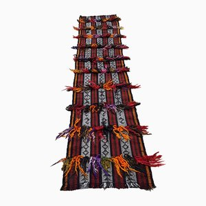 Vintage Handmade Aztec Patterned Hallway Kilim Runner Rug, 1970s
