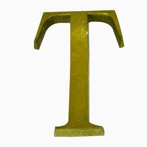 Buchstabe T Werbeschild aus Bronze, 1950er