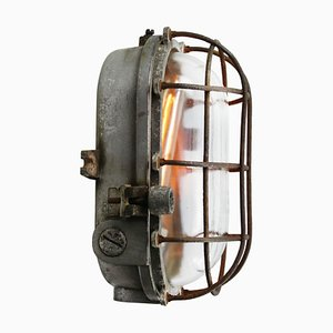 Vintage Industrial Gray Metal and Clear Glass Sconce