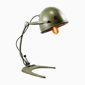 Industrielle Vintage Metall Tischlampe in Grün
