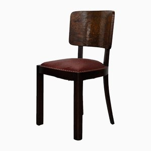 Vintage Italian Walnut Dining Chairs, 1930s, Set of 4