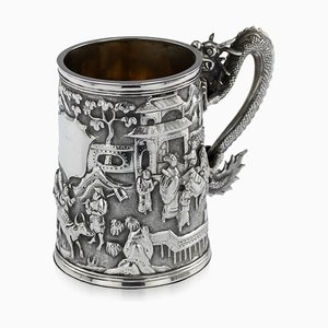 Antique 19th Century Chinese Solid Silver Dragon Mug from Luen Wo, 1890s