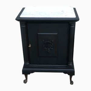English Black Patinated Oak Storage Cabinet with Claw Feet, 1930s
