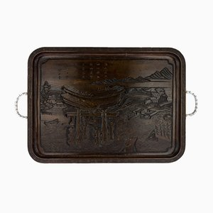 Antique Chinese Solid Silver and Carved Rosewood Tray, 1900s