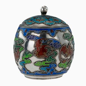 Antique 19th Century Chinese Solid Silver, Enamel, and Rosewood Pot with Cover from Huang Qiu Ji, 1880s